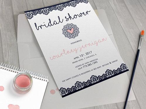 Lace Doily Navy Blush Bridal Shower Invitation