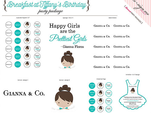 Printable Breakfast at Tiffany's Birthday Party Package