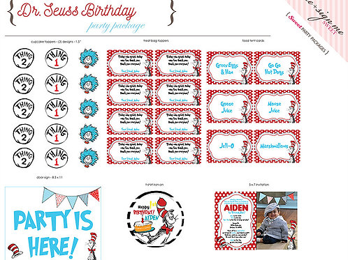 Printable Dr. Seuss Birthday Party Package