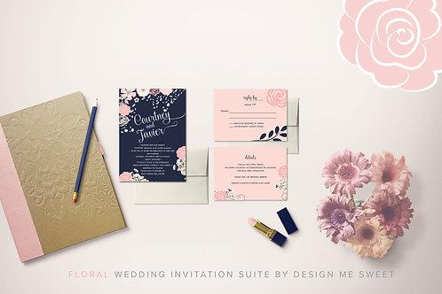 Floral Navy Blush Wedding Invitation Suite