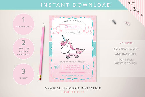 DIGITAL Magical Unicorn Invitation - INSTANT DOWNLOAD