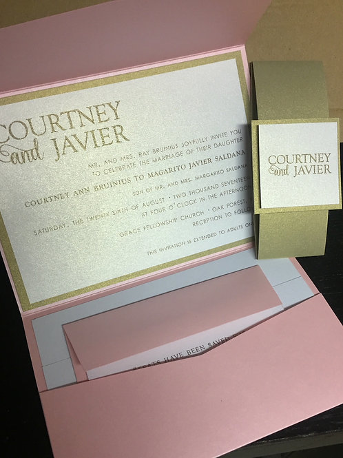 Pink Gold Wedding Invitation