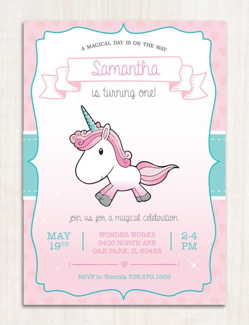 digital magical unicorn invitation instant download