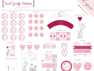 Wild About You Giraffe Valentine Party Package
