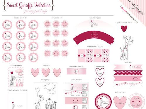 Printable Sweet Giraffe Valentine Party Package - Digital Files