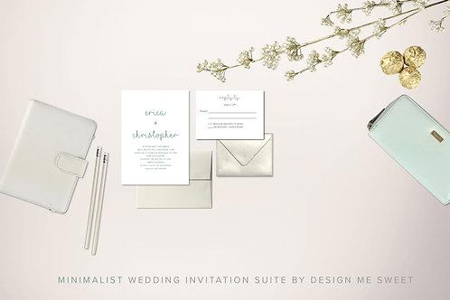 Modern Minimalist Wedding Invitation Suite