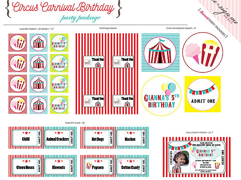 Printable Circus Carnival Birthday Party Package