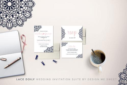 Lace Doily Navy Blush Wedding Invitation Suite