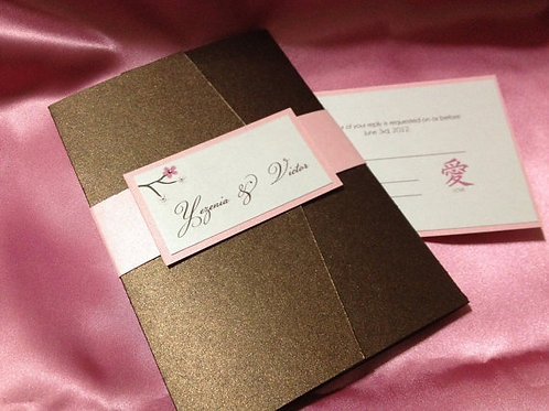 Japanese Inspired Cherry Blossom Wedding Invitation Suite