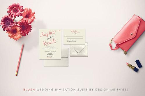 Blush Calligraphy Wedding Invitation Suite