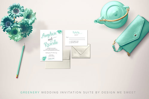 Greenery Calligraphy Wedding Invitation Suite