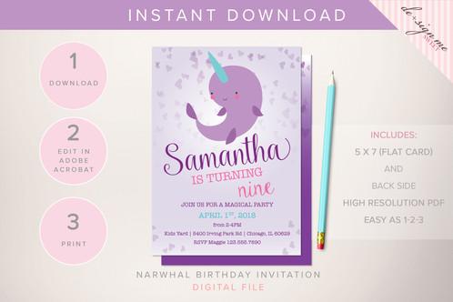 DIGITAL Narwhal Birthday Invitation