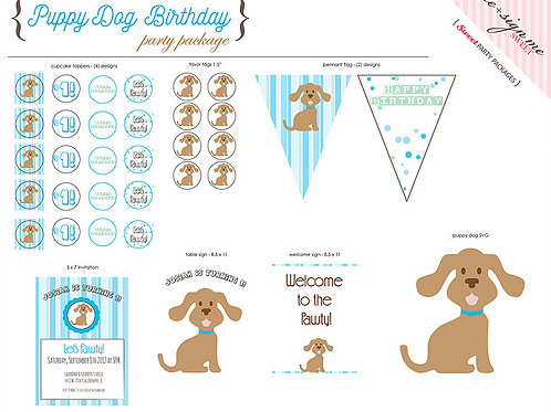 Printable Puppy Dog Birthday Party Package