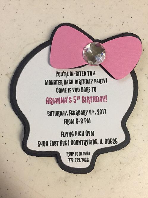 Monster High-inspired Birthday Invitation