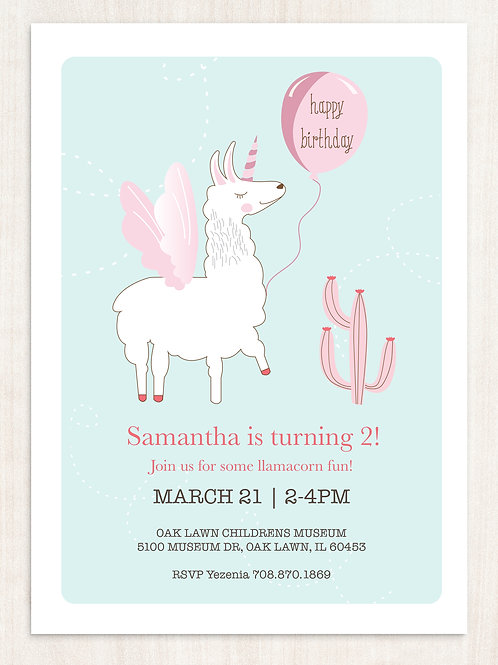 DIGITAL Llamacorn Birthday Invitation - INSTANT DOWNLOAD