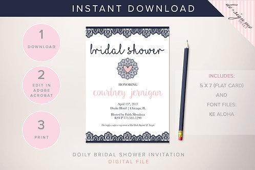 DIGITAL Doily Lace Navy Bridal Shower Invitation - INSTANT DOWNLOAD