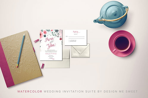Watercolor Floral Calligraphy Wedding Invitation Suite