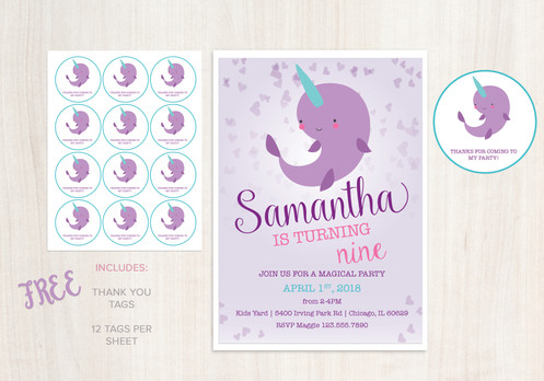 DIGITAL Narwhal Birthday Invitation - INSTANT DOWNLOAD with FREE THANK YOU  TAGS