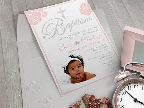 Baptism Invitation Pink Florals Photo