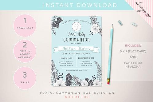 DIGITAL Floral Communion Boy Invitation - INSTANT DOWNLOAD