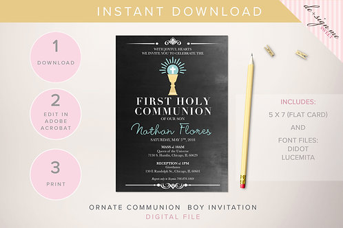 DIGITAL Ornate Chalkboard Communion Boy Invitation - INSTANT DOWNLOAD