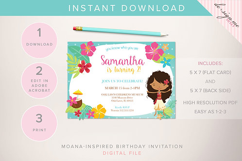 DIGITAL Moana-Inspired Birthday Invitation - INSTANT DOWNLOAD