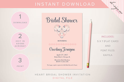 DIGITAL Floral Navy Blush Bridal Shower Invitation - INSTANT DOWNLOAD