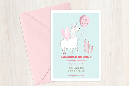 Llamacorn Birthday Invitation