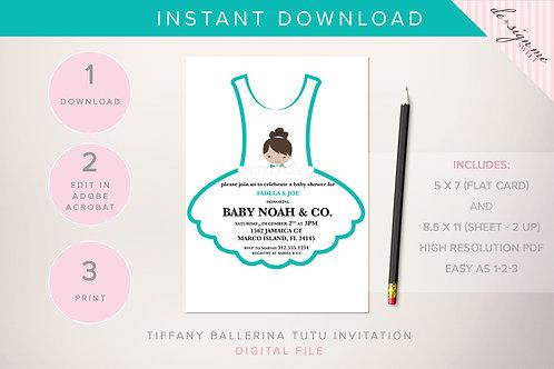 DIGITAL Tiffany Ballerina Tutu Invitation - INSTANT DOWNLOAD