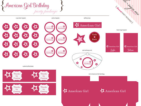 Printable American Girl Party Package - Digital Files