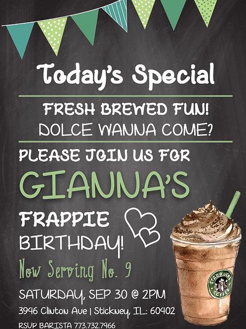 Starbucks-inspired Birthday Invitation