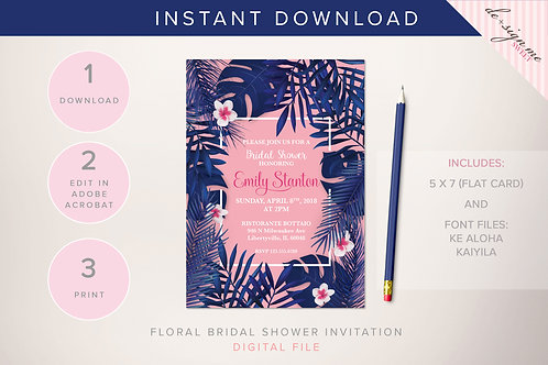 DIGITAL Tropical Bridal Shower Invitation - INSTANT DOWNLOAD