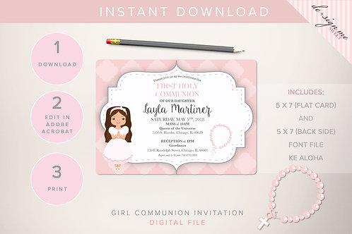 Girl Communion Invitation - INSTANT DOWNLOAD