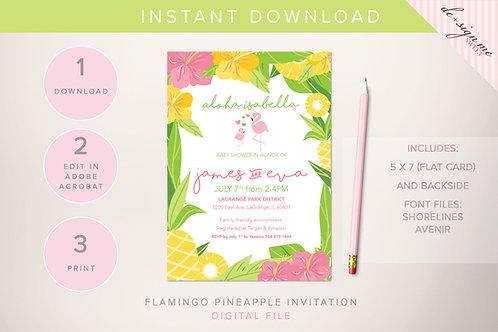 DIGITAL Flamingo Pineapple Invitation - INSTANT DOWNLOAD