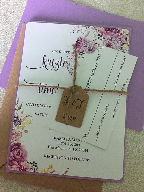 Boho Rustic Floral Wedding Invitation - 4 piece