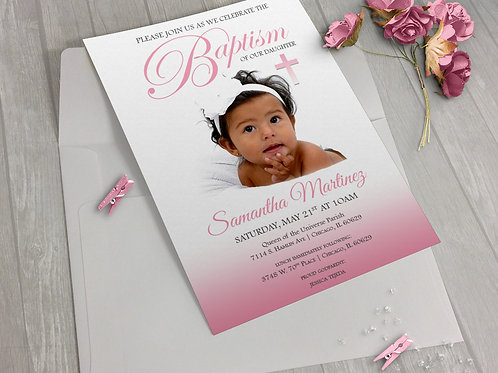 Baptism Invitation Girl Pink Photo