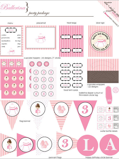 Printable Princess Ballerina Birthday Party Package