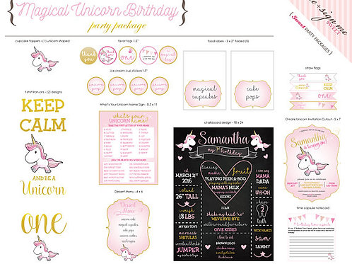 Printable Magical Unicorn Birthday Party Package