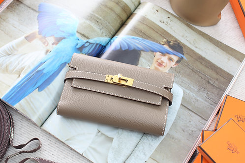 Hermes Kelly Wallet Compact Etoupe GHW