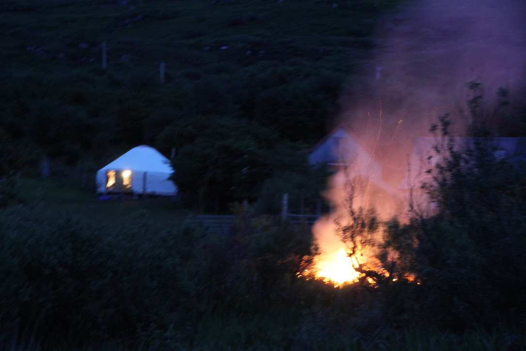 Midges where bad, so we started a bonfire.