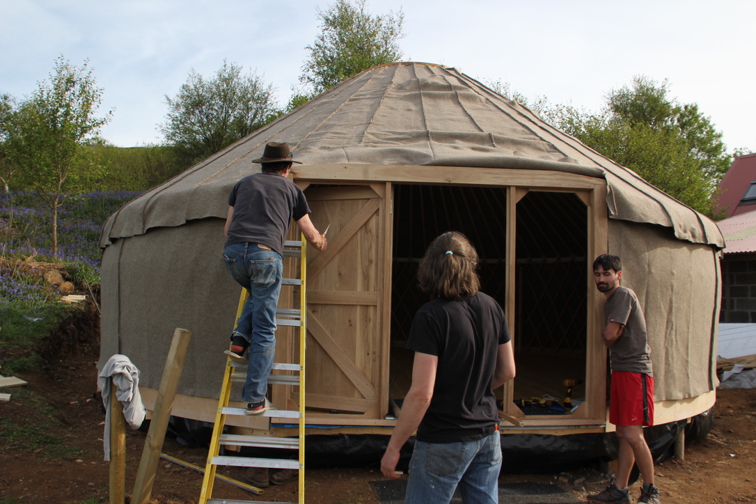 """The woolen felt. Our insolation to keep us warm. Its UK produced and mde. """"Red Kite Yurts"""" did the sewing."""
