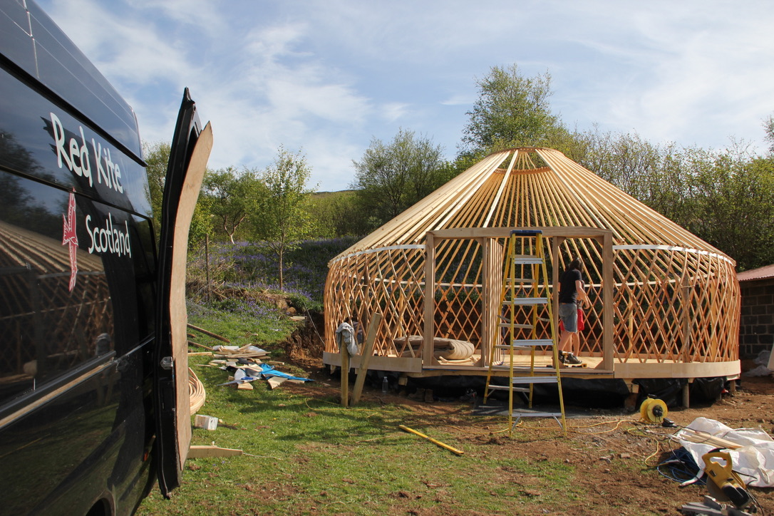 The main structure: trellis and rafters. Larch wood. All natural, just impregnated with linseed oil.