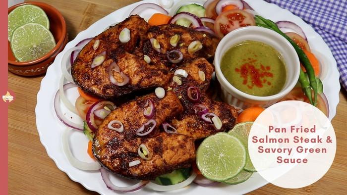 Shallow Pan Fried Salmon Steak & Savory Green Sauce
