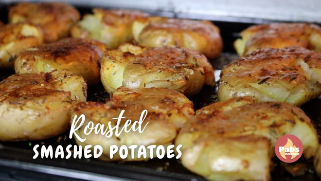 Amazing spiced oven roasted smashed potatoes at home