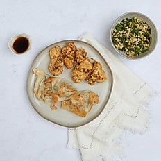 Stir Fried Chicken + Pan Fried Spring Dumplings + Asian-Inspired Rice (Serves 3-4)