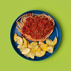 GF Spaghetti Bolognese and Seasonal Veggie (Big Kid Size)