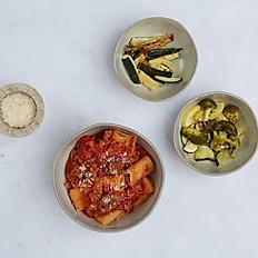 Turkey Bolognese Pasta + Oven-Roasted Parmesan Zucchini + Sauteed Veggies (Serves 3-4)