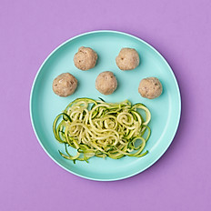 Parm Chicken Meatballs and Zoodles (Toddlers Size)