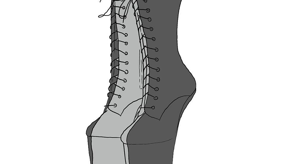 Heelless Ankle Boot Half Half