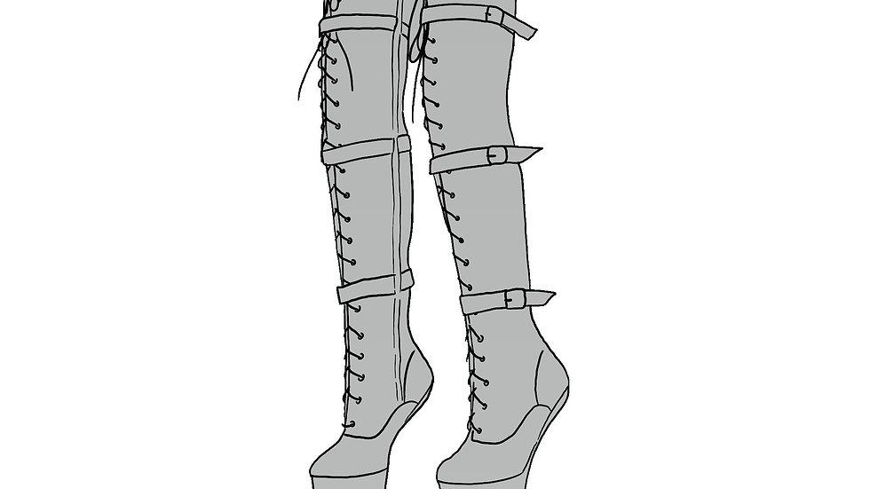Heelless Thigh High Boots